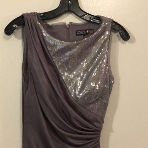 Adrianna Papell RedCarpet Gray sequin Dress NWOT 8